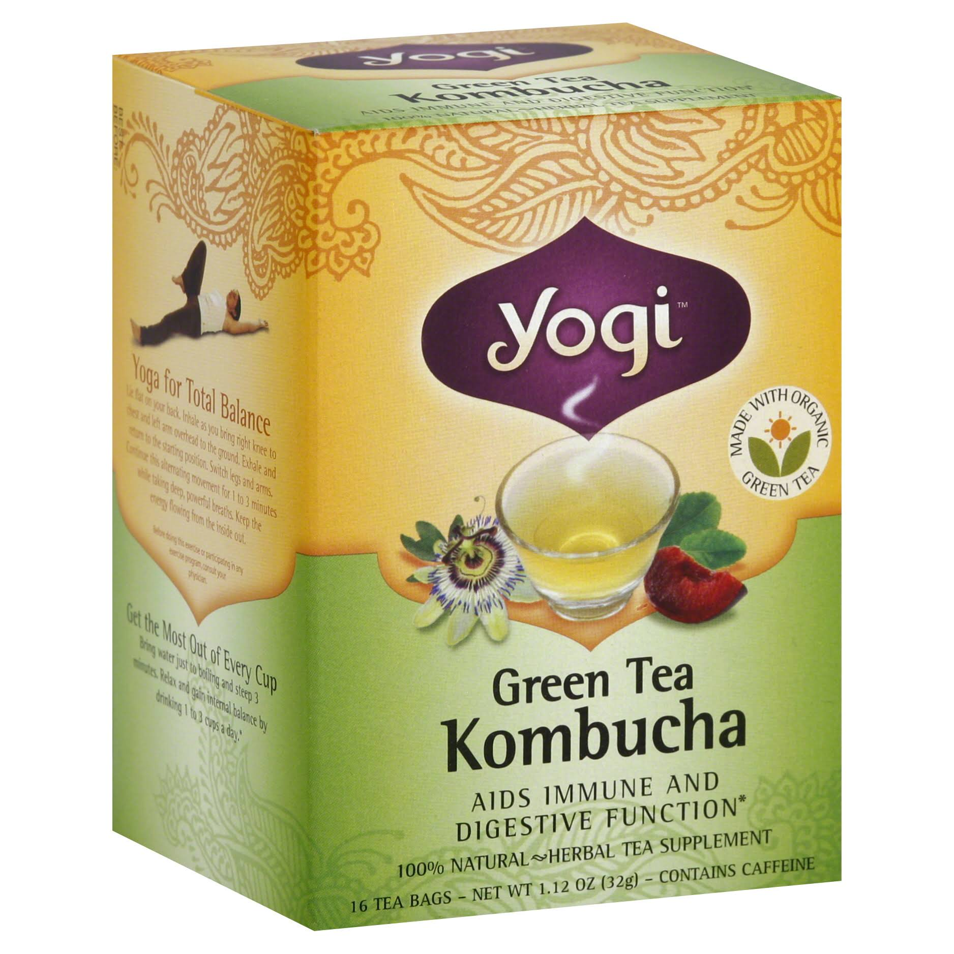 Yogi Tea Green Tea Kombucha 16 Tea Bags